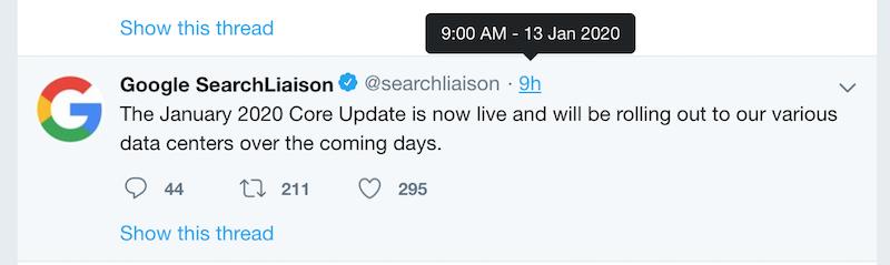 Thông báo cập nhật thuật toán mới của Google trên Twitter